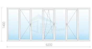 Теплое пластиковое остекление балкона 1400x6200 и-209а - куп.