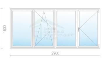Холодное пластиковое раздвижное остекление балкона 1500x2900.
