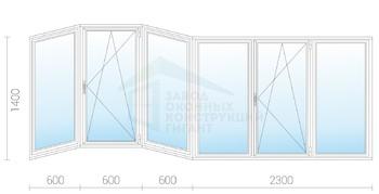 Холодное алюминиевое раздвижное остекление балкона 1400x4100.